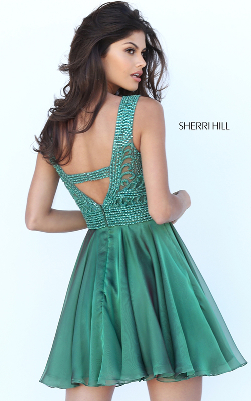 Sherri Hill 50517 Jade Chiffon Beaded Cocktail Dress 2016_1