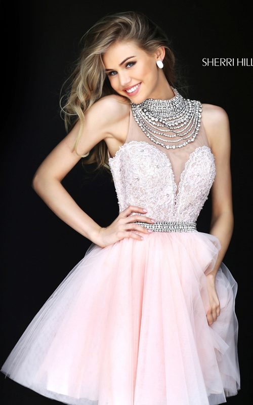 Sherri Hill 50538 Blush Sweetheart Lace Tulle Pageant Dress