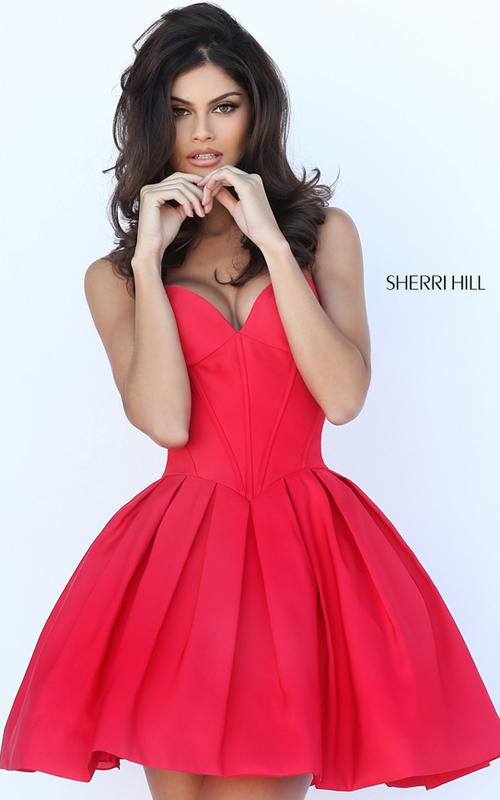 Short Sherri Hill 50501 Red Sweetheart Homecoming Dress 2016