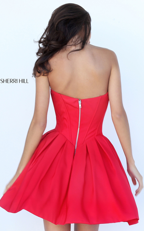 Short Sherri Hill 50501 Red Sweetheart Homecoming Dress 2016_1