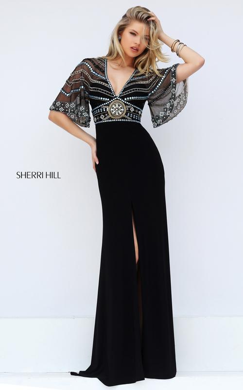 2016 Sherri Hill 50591 Black Multi Beaded Open Back Sexy Dress