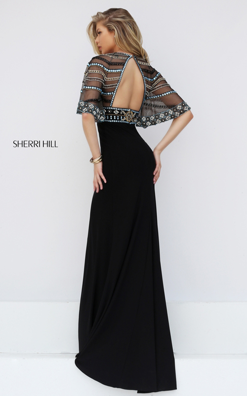 2016 Sherri Hill 50591 Black Multi Beaded Open Back Sexy Dress_1