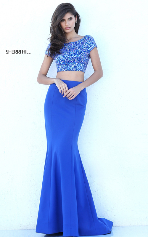 2016 Sherri Hill 50614 Beaded Two Piece Fitted Dress Royal