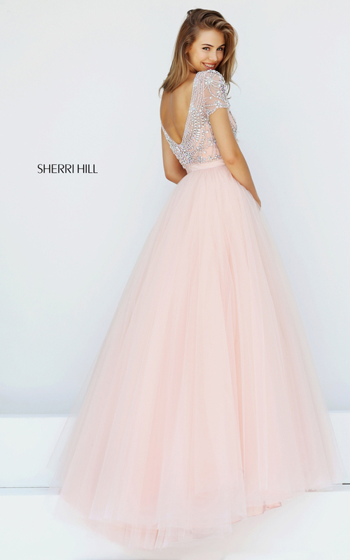 2016 Sherri Hill 50710 Blush Beaded A-line Tulle Prom Dress Long_1
