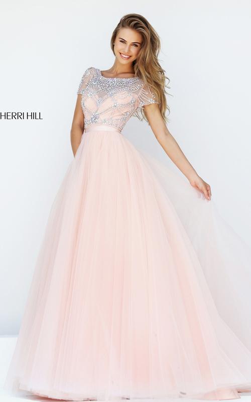 2016 Sherri Hill 50710 Blush Beaded A-line Tulle Prom Dress Long_2
