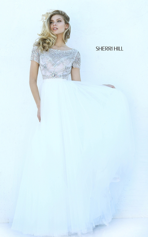 Beaded Sherri Hill 50710 Cap Sleeve Tulle Homecoming Dress Ivory