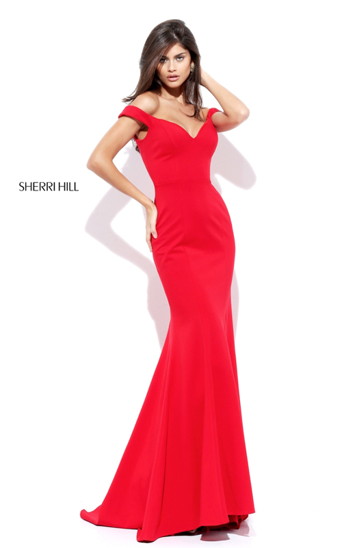 Fitted Off Shoulder Simple Party Red Sherri Hill Dress 50730