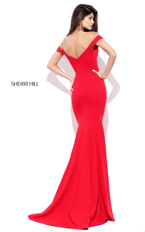 Fitted Off Shoulder Simple Party Red Sherri Hill Dress 50730_1