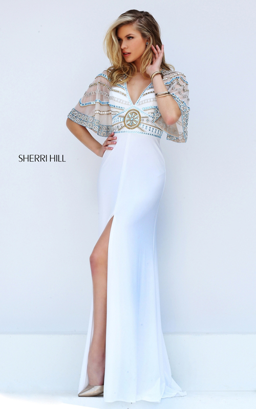 Flowing Sleeves Sherri Hill 50591 Ivory Beads Prom Dress 2016
