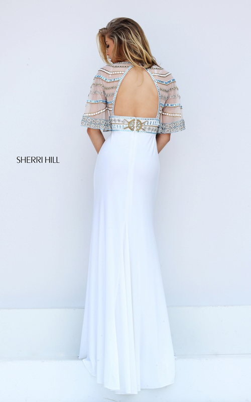 Flowing Sleeves Sherri Hill 50591 Ivory Beads Prom Dress 2016_1