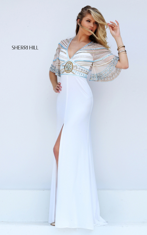 Flowing Sleeves Sherri Hill 50591 Ivory Beads Prom Dress 2016_2
