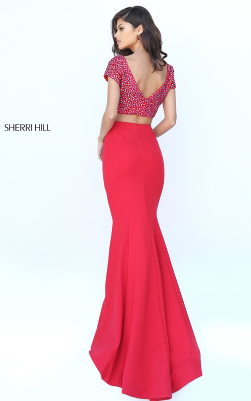 Junior Sherri Hill 50614 Beaded Two Piece Prom Dress Red_1