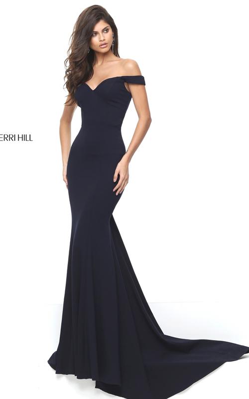 Mermaid Sherri Hill 50730 Black Fitted Homecoming Dress 2016