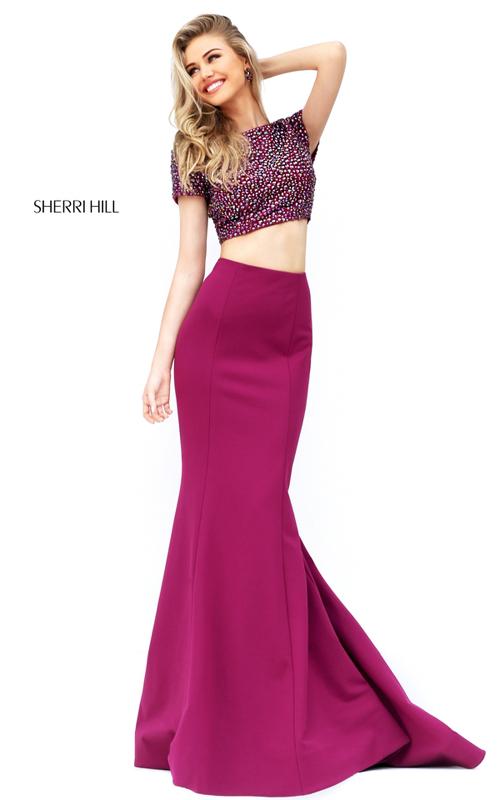Raspberry Sherri Hill 50614 Two Piece Homecoming Dress 2016