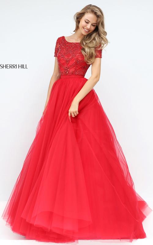 Sherri Hill 50710 Beaded Tulle Senior Homecoming Dress Red 2016