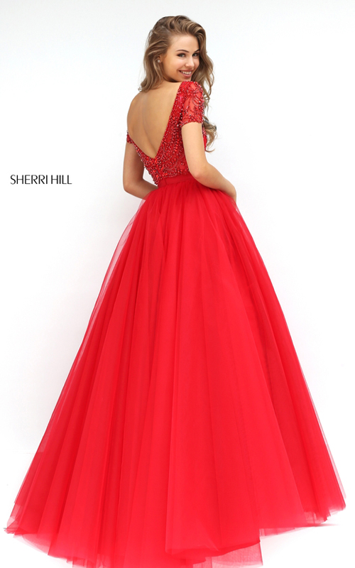 Sherri Hill 50710 Beaded Tulle Senior Homecoming Dress Red 2016_1